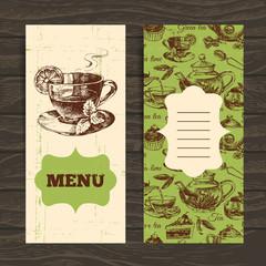 Tea vintage banners. Hand drawn sketch illustration. Menu design