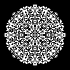 Ornamental round pattern on black