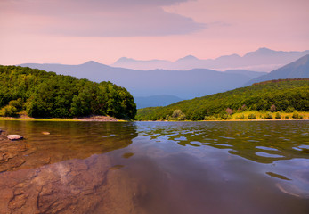 Colorful summer morning on the river