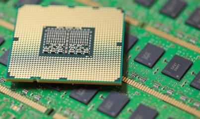 Computer CPU on green RAM