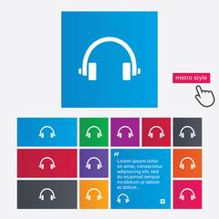 Headphones sign icon. Earphones button.