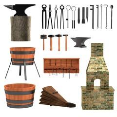 realistic 3d render of blacksmith tools