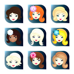 Glass buttons with girl faces