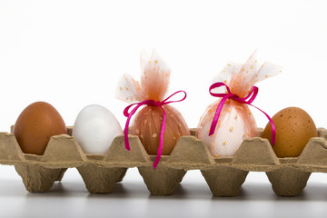 carton box with ornate easter eggs