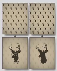 deer head seamless pattern