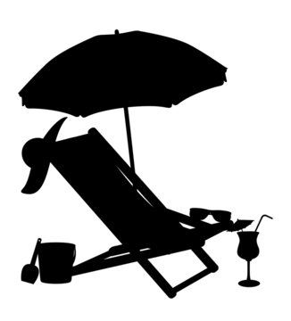 silhouette of beach chairs and umbrellas vector illustration