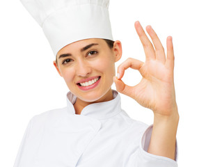 Female Chef Showing Ok Sign