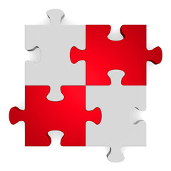 3d grey puzzle with red diagonal on white