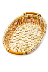Wattled basket isolated on a white background