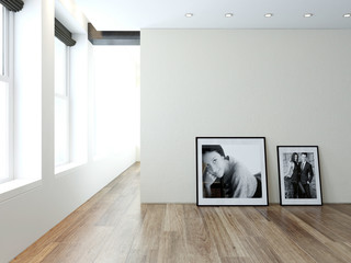 ..Modern empty room interior with pictures on wall