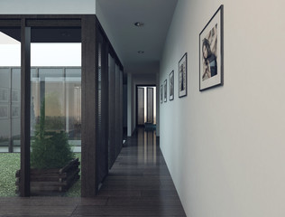 Modern apartment interior with long hallway / corridor