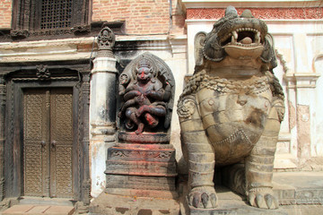 Statues and door