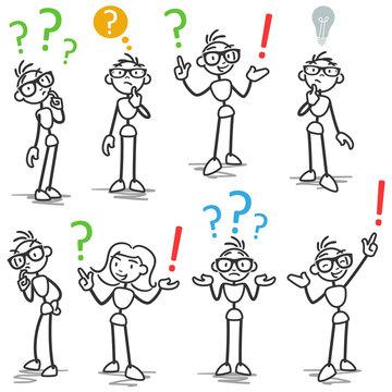 Stickman question marks FAQ asking wondering pondering