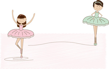 nice pink and green ballet dancers