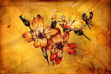 antique flower art drawing handmade