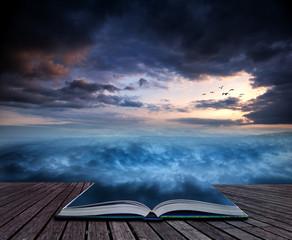 Book concept Fantasy skyscape sunset over surreal vortex formati