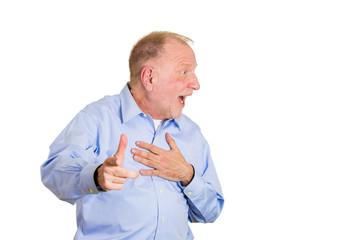 Senior man pointing finger shocked isolated on white background