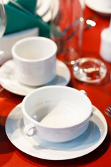 .Ceramic tableware on the table