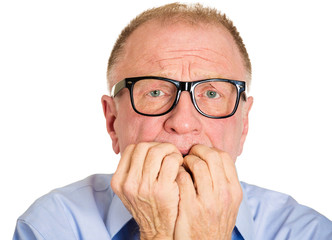 Anxiety. Portrait, headshot Stressed, scared senior man