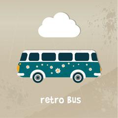 Retro bus concept paper vintage card.