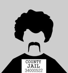 criminal man in mugshot photo at jail