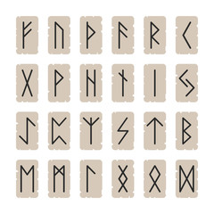 Set of signs runes on a background