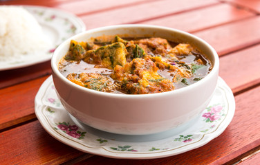 hot and sour curry with shrimps and Acacia Omelette