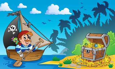 Foto op Plexiglas Piraten Pirate theme with treasure chest 3