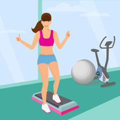 Beautiful woman doing aerobic workout in the gym