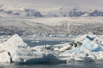 Iceland. Southeast area. Jokulsarlon. Icebergs, lake and glacier