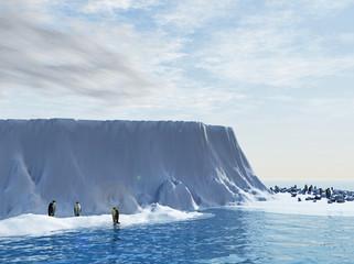 Penguins - king penguins in snow - 3d rendering