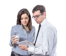 Business people reading documents in a tablet