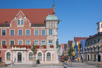 Fotomurales - Allgäu, Mindelheim, Marienplatz, Rathaus, Maximilianstraße