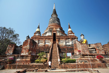 large white pagoda and blue sky in thailand