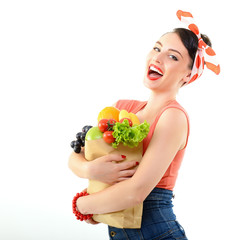 Pinup girl with food bag, portrait of young happy sexy woman in