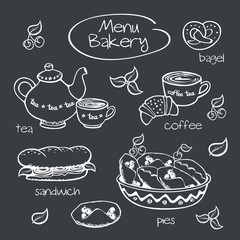 Bakery menu. Drawing with chalk on a blackboard.