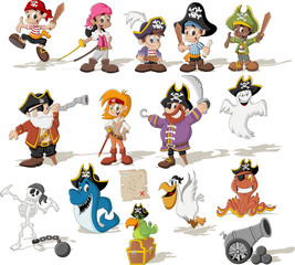Group of cartoon pirates with funny animals