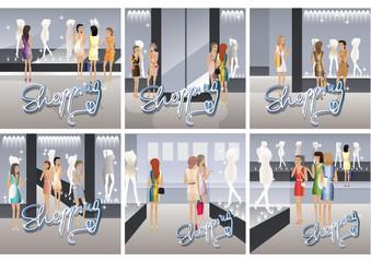 Shopping Women - Vector Illustration