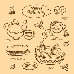 Bakery menu. Vector illustration.