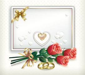 card with a bouquet of roses and wedding rings