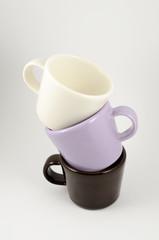 three empty espresso cup