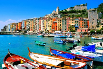 Fototapete - Colorful harbor view at Portovenere, Italy with boats