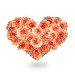 Heart Flower.Love concept.Beautiful Abstract Bouquet Roses