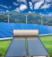 éoliennes, panneaux photovoltaïques et chauffe-eau solaire