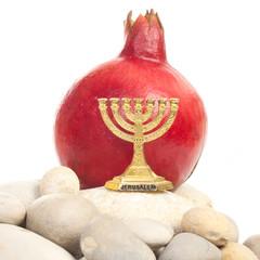Menorah with pomegranate