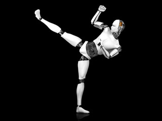 Male robot doing karate kick.