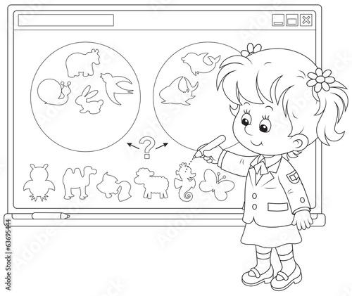 Schoolgirl At The Interactive Whiteboard