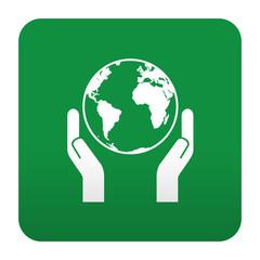 Etiqueta tipo app verde save the planet
