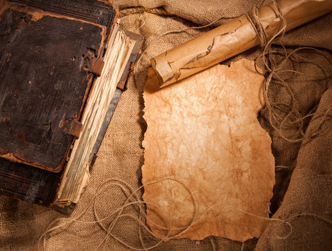 antique book and old papers