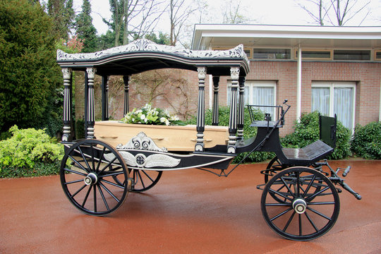 Casket on a funeral carriage